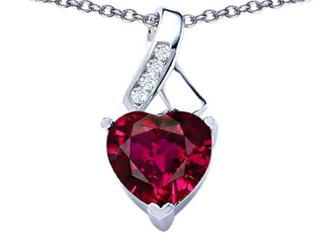 Star K 8mm Heart Shape Created Ruby Ribbon Pendant in Sterling Silver