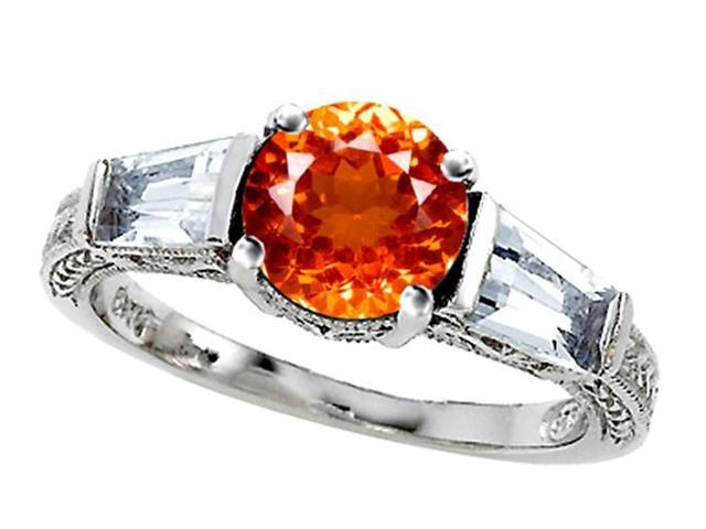 Star K Round 7mm Simulated Orange Mexican Fire Opal Ring in Sterling Silver Size 6