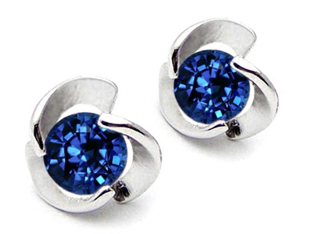 Star K Round 6mm Created Sapphire Flower Earrings Studs in Sterling Silver