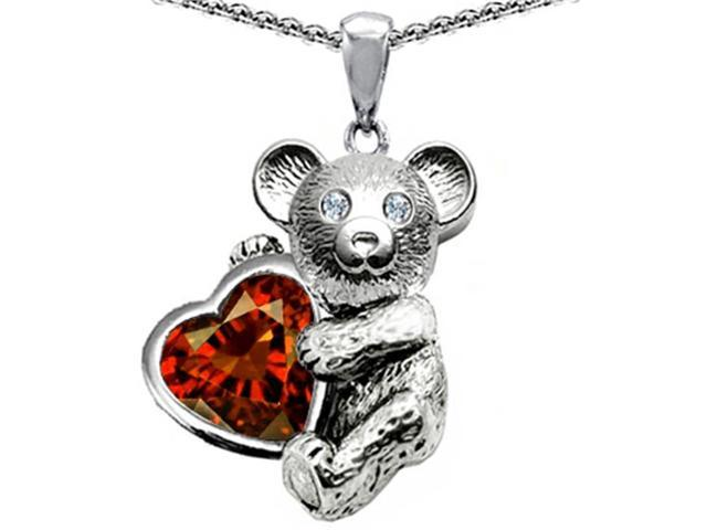 Star K Love Bear Hugging Birth Month of January 8mm Heart Shape Simulated Garnet in Sterling Silver