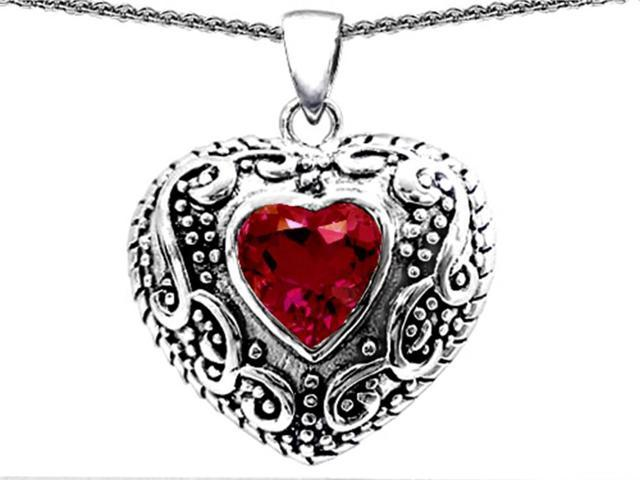 Star K Bali Style Puffed 7mm Heart Created Ruby Pendant in Sterling Silver