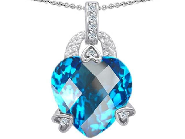 Star K Large 13mm Heart Shaped Simulated Blue Topaz Designer Pendant Necklace in Sterling Silver