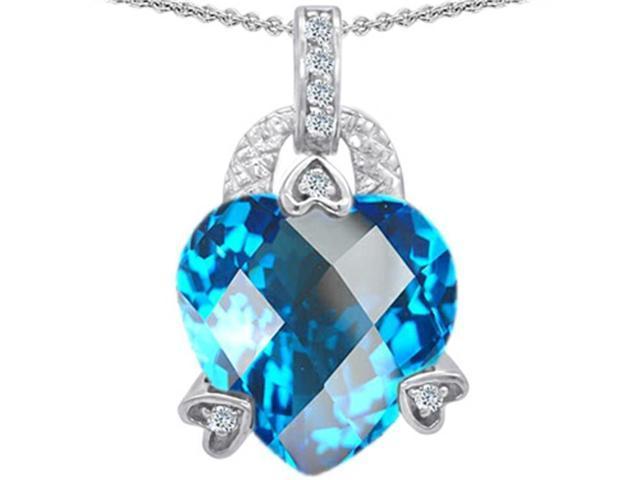Star K Large 13mm Heart Shaped Simulated Blue Topaz Designer Pendant in Sterling Silver