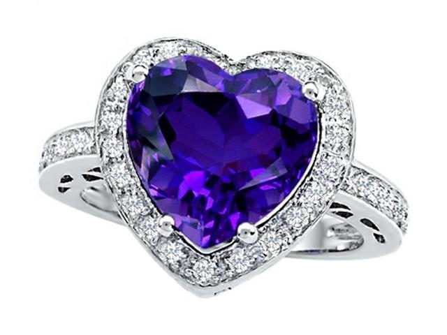 Star K Large 10mm Heart Shape Simulated Amethyst Wedding Ring in Sterling Silver Size 8