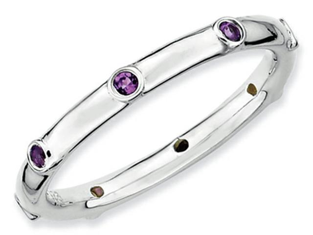 Stackable Expressions Sterling Silver Simulated Amethyst Stackable Ring Size 7