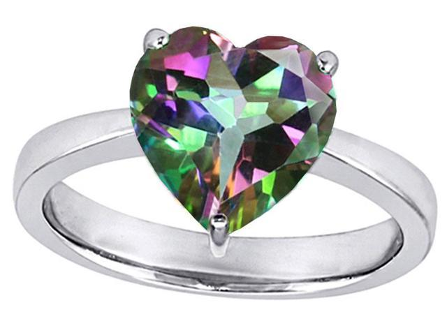 Star K Large 10mm Heart Shape Solitaire Ring with Multicolor Mystic Topaz in Sterling Silver Size 5