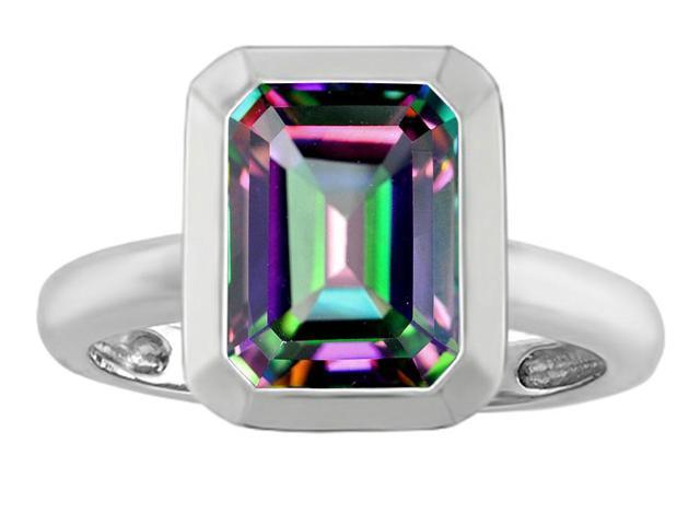 Star K 9x7mm Emerald Cut Octagon Solitaire Ring with Mystic Topaz in Sterling Silver Size 8