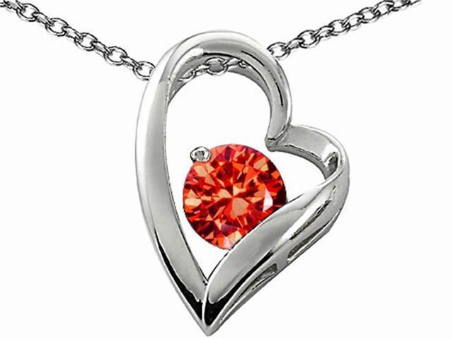 Star K Round 7mm Simulated Orange Mexican Fire Opal Heart Shape Pendant in Sterling Silver