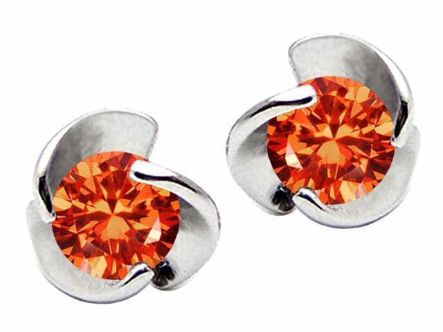 Star K Round 6mm Simulated Mexican Fire Opal Flower Earrings Studs in Sterling Silver