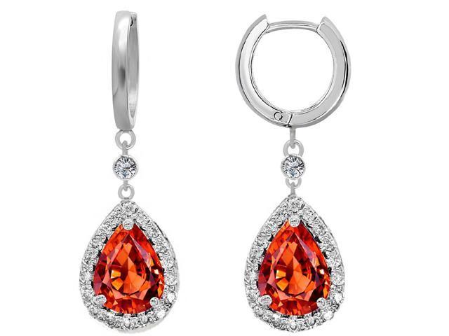 Star K Simulated Mexican Fire Opal Drop Earrings dangling on Huggie Hoop in Sterling Silver
