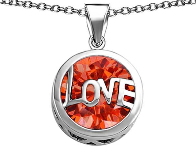 Star K Large Love Round Pendant with 15mm Round Simulated Mexican Orange Fire Opal in Sterling Silver