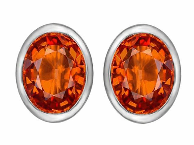 Star K 8x6mm Oval Simulated Mexican Orange Fire Opal Earrings Studs in Sterling Silver