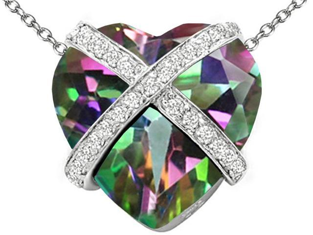 Star K Large Prisoner of Love Heart Pendant with 15mm Heart Shape Rainbow Mystic Topaz in Sterling Silver