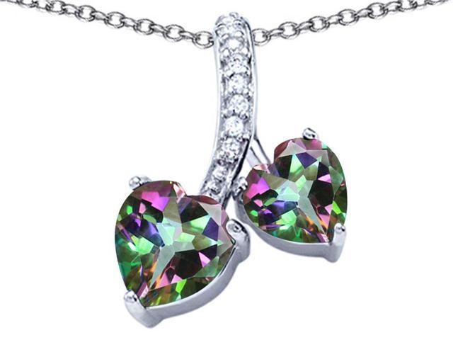 Star K 8mm and 7mm Heart Shape Rainbow Mystic Topaz Double Hearts Pendant in Sterling Silver