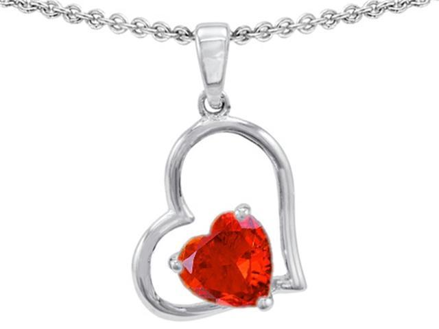 Star K 7mm Heart Shape Simulated Fire Opal Pendant Necklace in Sterling Silver