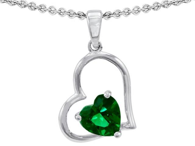 Star K 7mm Heart Shape Simulated Emerald Pendant Necklace in Sterling Silver