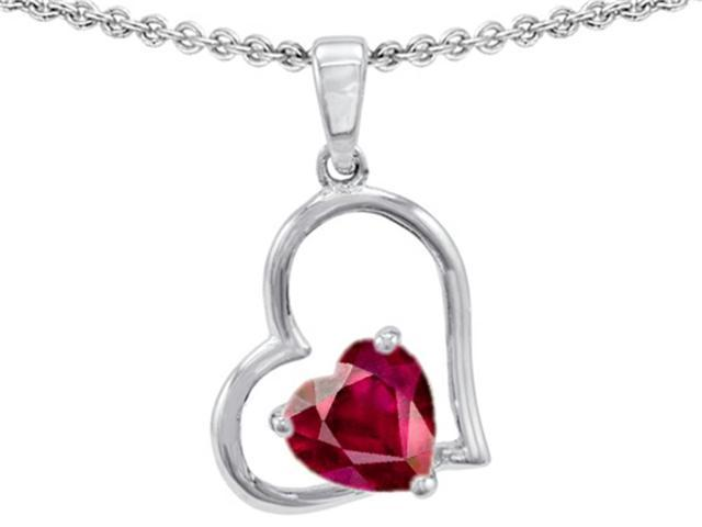 Star K 7mm Heart Shape Created Ruby Pendant Necklace in Sterling Silver