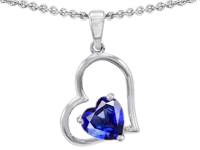 Star K 7mm Heart Shape Created Blue Sapphire Pendant Necklace in Sterling Silver