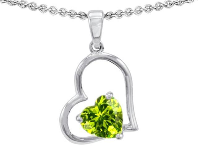Star K 7mm Heart Shape Simulated Peridot Pendant in Sterling Silver