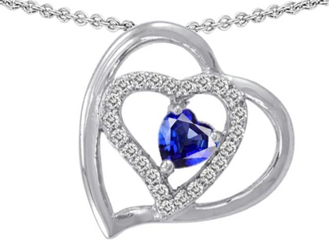 Star K 6mm Heart Shape Created Sapphire Pendant in Sterling Silver