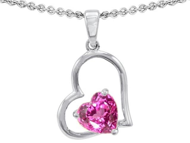 Star K 7mm Heart Shape Created Pink Sapphire Pendant Necklace in Sterling Silver