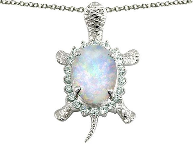 Star K Good Luck Turtle Pendant with Oval 12x10mm Simulated Opal in Sterling Silver