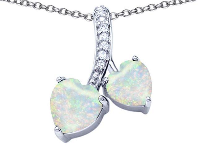 Star K 8mm and 7mm Heart Shape Created Opal and Cubic Zirconia Double Hearts Pendant Necklace in Sterling Silver