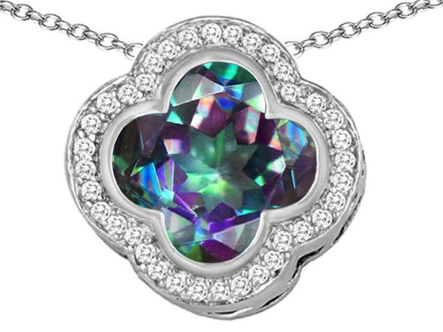 Star K Large Clover Pendant with 12mm Clover Cut Simulated Mystic Topaz in Sterling Silver