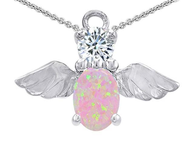 Star K Angel Of Love Protection Pendant with Oval 8x6mm Simulated Pink Opal in Sterling Silver