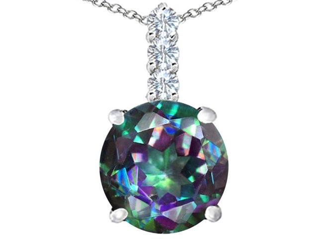 Star K Large 12mm Round Rainbow Mystic Topaz Pendant in Sterling Silver