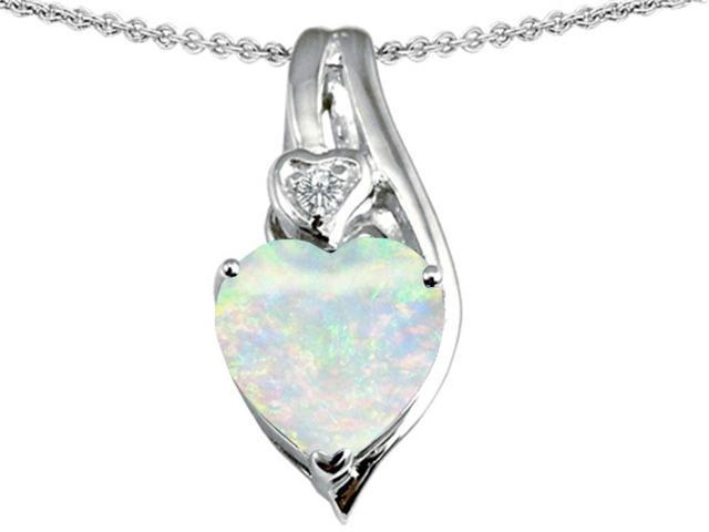 Star K Large 10mm Heart Shape Simulated Opal Heart Pendant in Sterling Silver