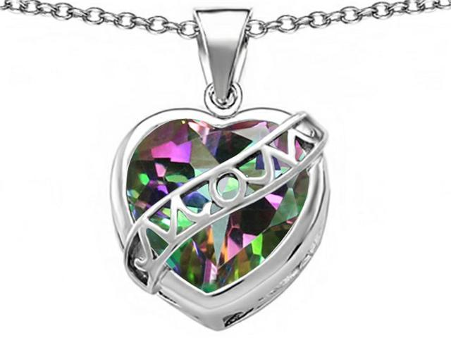Star K Large Love Mom Mother Pendant with 15mm Heart Shape Rainbow Mystic Topaz in Sterling Silver