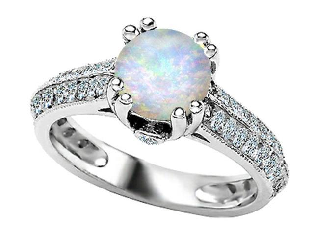 Star K Round Simulated Opal Ring in Sterling Silver Size 7