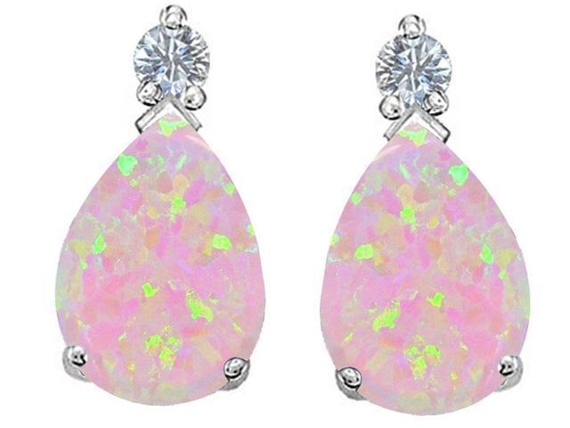 Star K Pear Shape 8x6 mm Pink Simulated Opal Earrings Studs in Sterling Silver