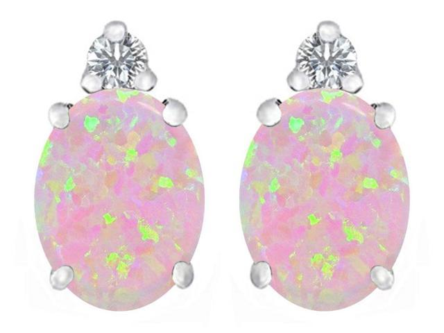 Star K 8x6mm Oval Pink Simulated Opal Earrings Studs in Sterling Silver