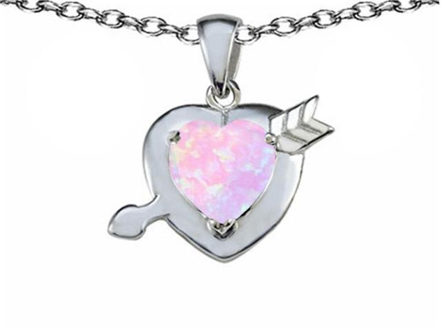Star K Heart with Arrow Love Pendant with Heart Shape 8mm Simulated Pink Opal in Sterling Silver