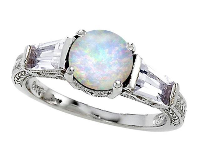 Star K Round 7mm Simulated Opal Ring in Sterling Silver Size 5