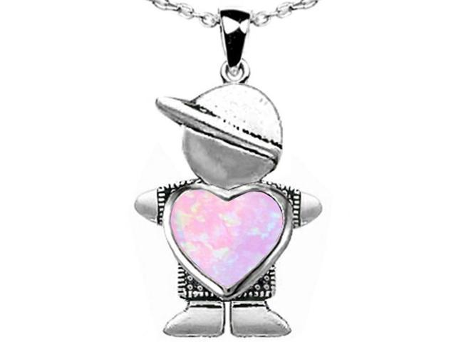Star K Boy Holding 8mm Mother Heart October Birth Month Pendant with Pink Simulated Opal in Sterling Silver