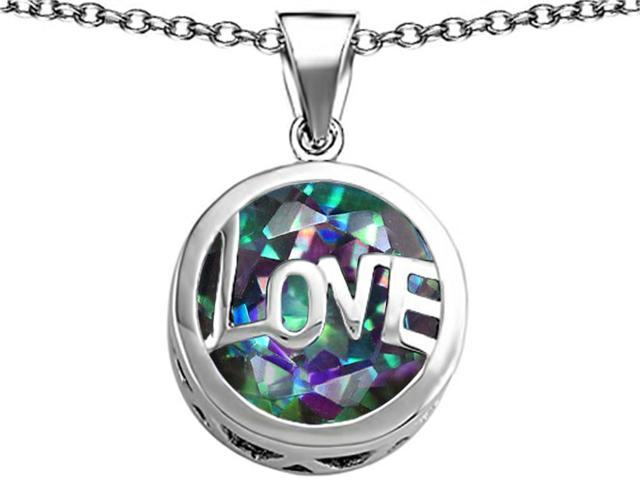 Star K Large Love Round Pendant with 15mm Round Rainbow Mystic Topaz in Sterling Silver