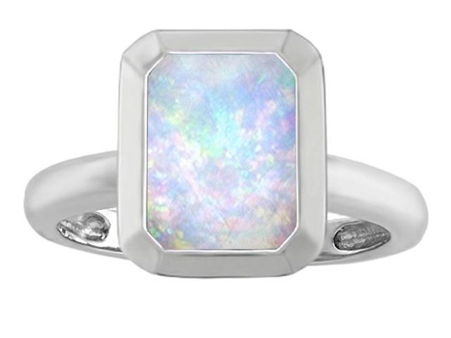 Star K 9x7mm Emerald Cut Octagon Solitaire Ring with Simulated Opal in Sterling Silver Size 6