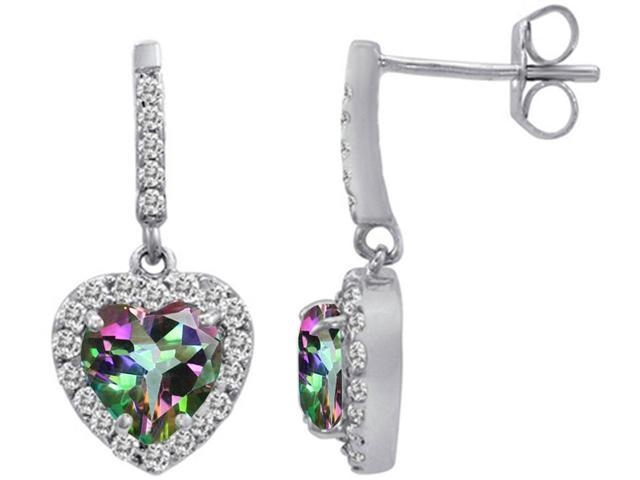 Star K 6mm Heart Shape Rainbow Mystic Topaz Dangling Heart Earrings in Sterling Silver
