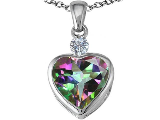 Star K 10mm Heart Shape Mystic Topaz Heart Pendant in Sterling Silver