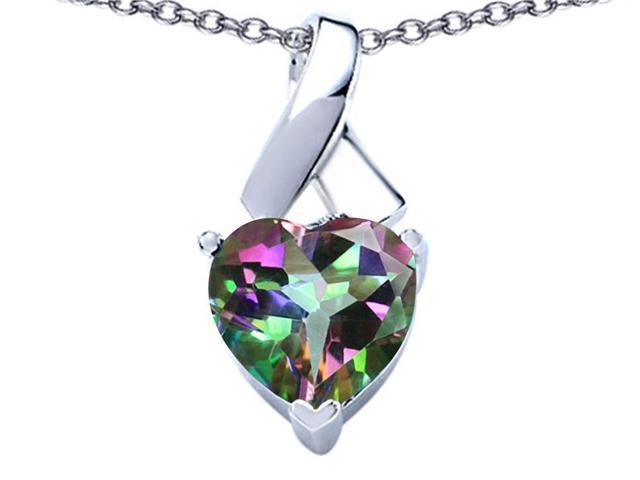 Star K 8mm Heart Shape Rainbow Mystic Topaz Ribbon Pendant in Sterling Silver