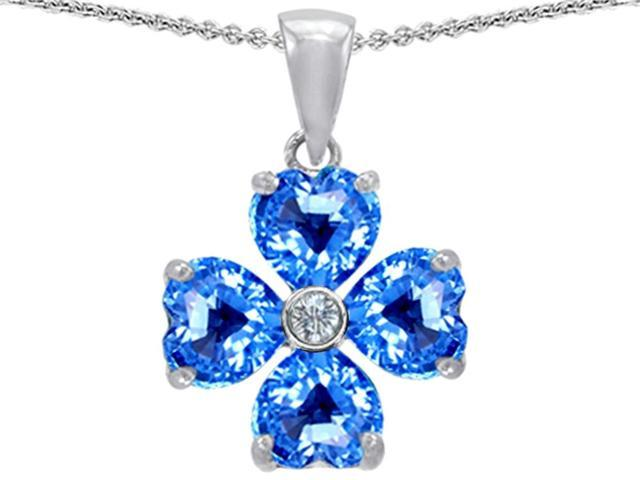 Celtic Love by Kelly 6mm Heart Shape Simulated Blue Topaz Lucky Clover Pendant in Sterling Silver