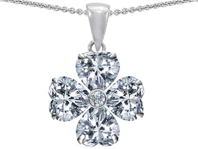 Star K 6mm Heart Shape White Topaz Lucky Clover Pendant Necklace in Sterling Silver