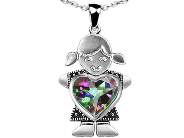 Star K Girl Holding 8mm Mother Heart Birth Month Pendant with Rainbow Mystic Topaz in Sterling Silver