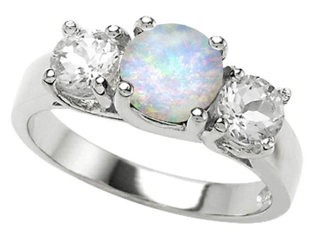 Star K 7mm Round Simulated Opal Ring in Sterling Silver Size 5