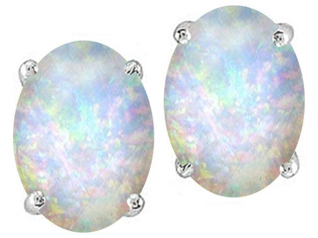 Star K Oval 8x6mm Simulated Opal Earrings Studs in Sterling Silver