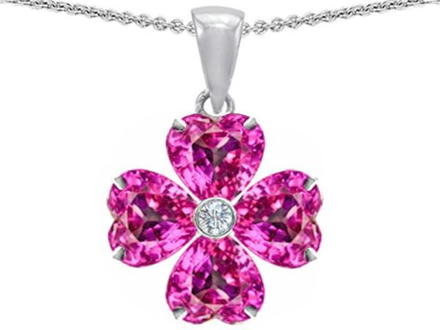 Celtic Love by Kelly 6mm Heart Shape Created Pink Sapphire Lucky Clover Pendant in Sterling Silver