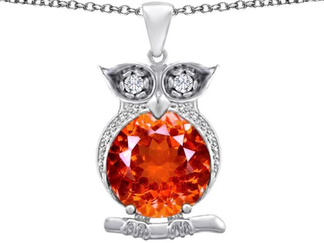 Star K Large 10mm Round Simulated Orange Mexican Fire Opal Good Luck Owl Pendant in Sterling Silver